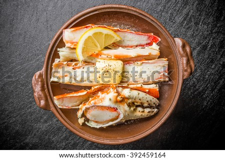 Butter soy sauce firing of the crab - stock photo