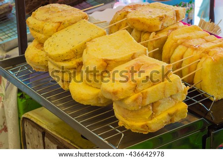 Butter Toast Sticks in a small shop. - stock photo
