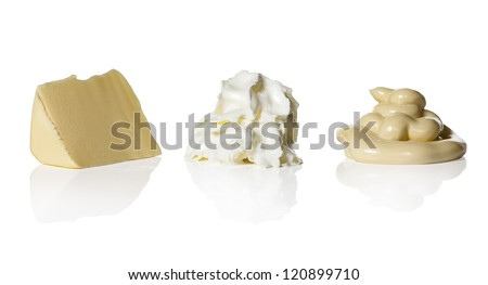 Butter, whipped cream and mayonnaise on white background. Low Carb Hi Fat-diet. LCHF - stock photo