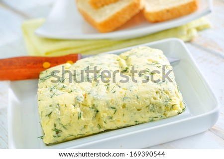 butter with garlic - stock photo