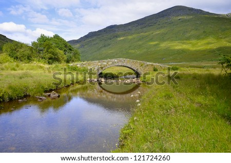 Butterbridge in the Scottish Highlands - Loch Lomond and Trossachs National Park - stock photo