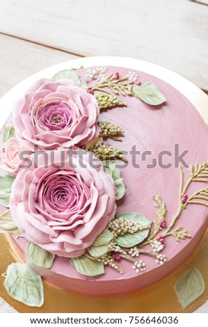 Buttercream Flower Cake Happy Birthday Cake Stock Photo Royalty
