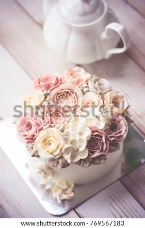 Buttercream Flower Cake Happy Birthday Cake Stock Photo Royalty