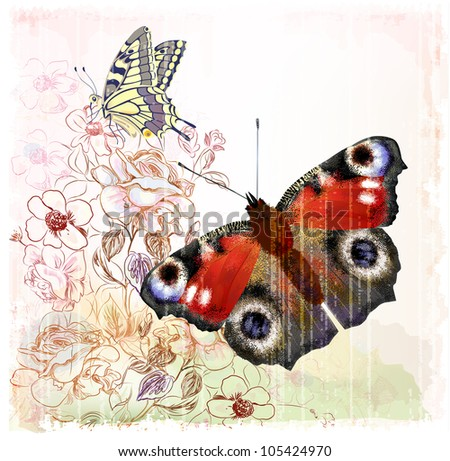 Butterflies and roses - stock photo