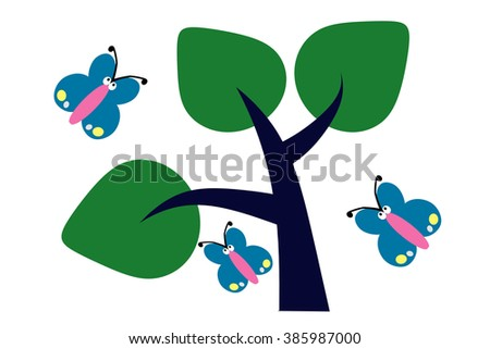Butterflies are beautiful birds Large and small Many species The insects living in nature Live online Nectar as food - stock photo