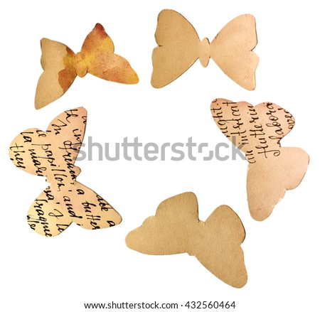 Butterflies, cut out of watercolor toned paper with handwritten text, isolated on white background, forming a circle (with a place for text) - stock photo