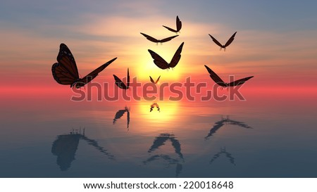 Butterflies flying towards the sun - stock photo
