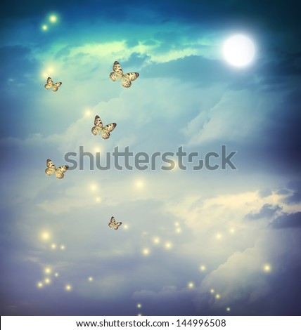 Butterflies in a fantasy night landscape with stars and moon - stock photo