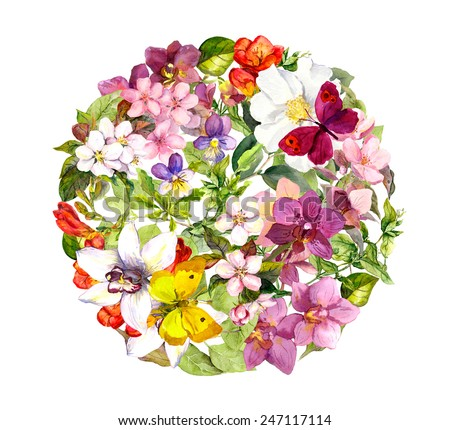 Butterflies on flowers. Round floral pattern. Watercolour - stock photo