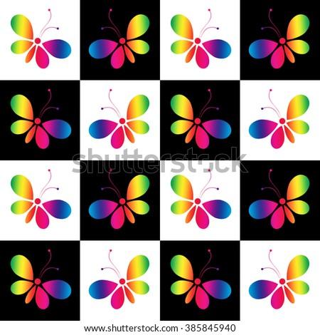 Butterflies - rainbow - stock photo