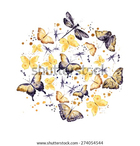 Butterflies. Round pattern. Watercolor background - stock photo