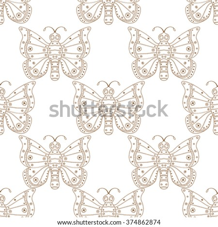 Butterflies seamless pattern in doodle style. Hand drawn butterfly art illustration for fabric. textile, wrapping, wallpaper, packaging and other beauty design. - stock photo