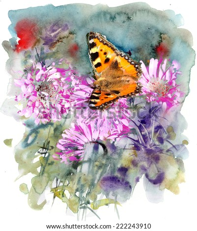 Egg M Nchen butterfly and abstract watercolor mixed media artistic background stock photo