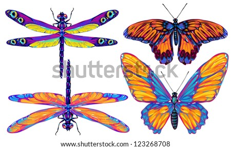 butterfly and dragonfly  collection - stock photo