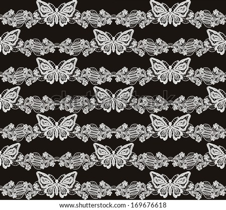 Butterfly and floral white lace seamless pattern on black background - stock photo