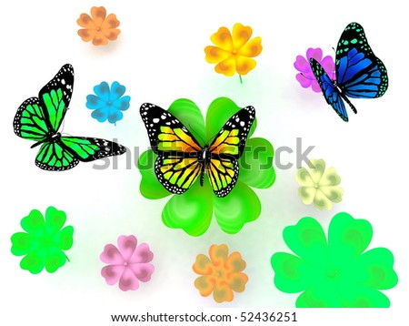 Butterfly and flowers on white background