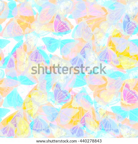 Butterfly background seamless. Beautiful artistic floral background with tropical butterflies. Artwork watercolor painting with translucent effect.