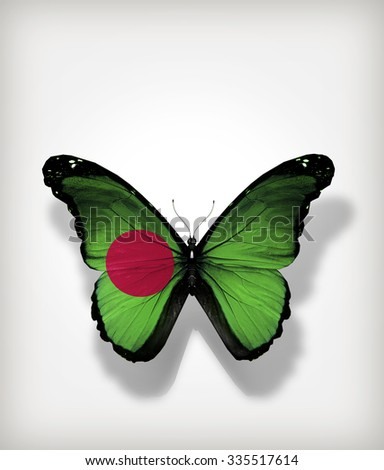 Butterfly Bangladesh flag on paper_CARD - stock photo