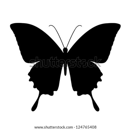butterfly, black silhouettes on white background - stock photo