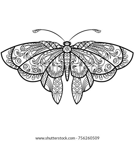 Butterfly Drawing With Mandala Pattern To Color