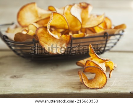Butterfly fries. Potatoes fries. Shallow depth of field - stock photo