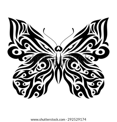 Butterfly in tribal design. Ideal for tattoo, print, poster, card or invitation. - stock photo