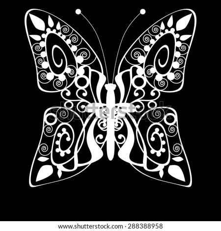 Butterfly monochrome white silhouette on black background