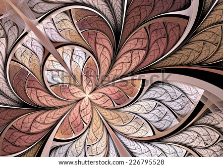 Butterfly on a flower. Artistic background in soft pink tones. Fine decoration of a desktop, interior, album cover. Fractal art - stock photo