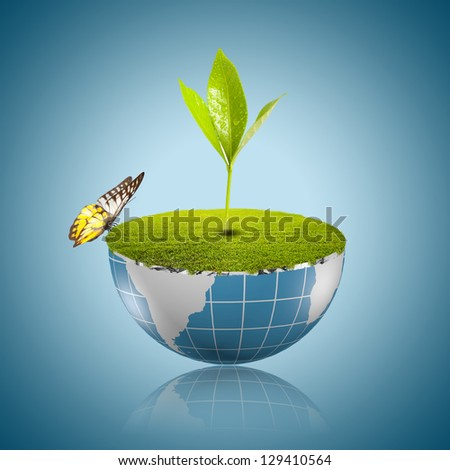 Butterfly on globe with grass growing - stock photo