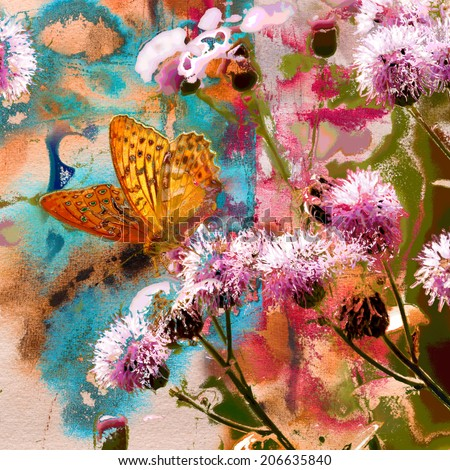 Butterfly on thistle flowers and abstract painting on handmade paper, mixed media art background                               - stock photo