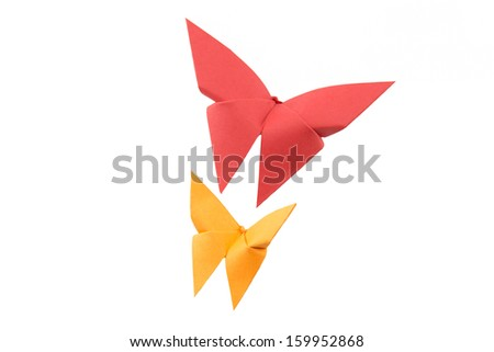 butterfly Origami on white background - stock photo
