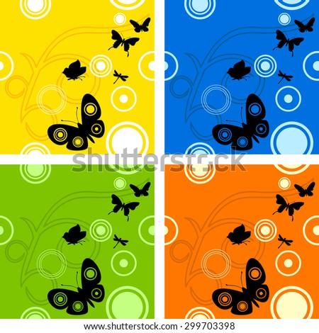 Butterfly seamless pattern - stock photo