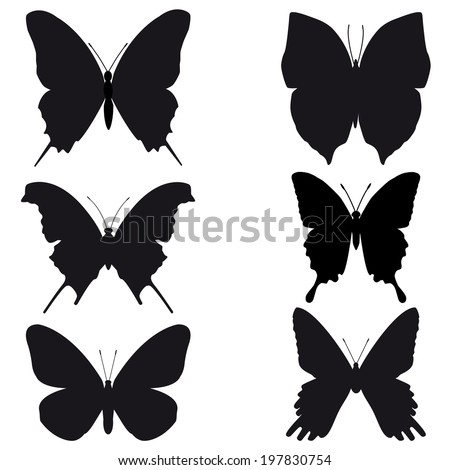 Butterfly silhouette on white background - stock photo