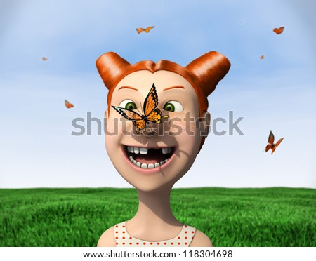 butterfly sits on a girl's nose - stock photo