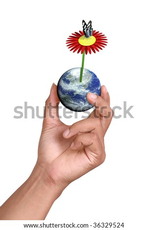 butterfly standing on top of a flower growing on the Earth and ocean; computer generate image
