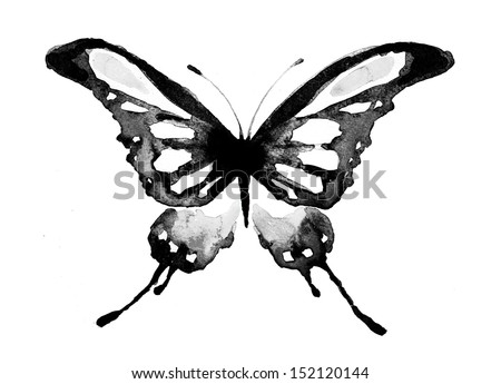 butterfly,watercolor design - stock photo