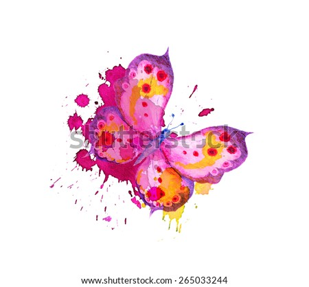 Butterfly with stylized splash and brush stroke. Watercolour - stock photo