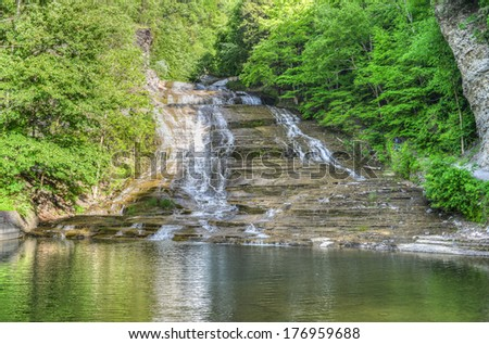 Buttermilk Falls in Buttermilk State Park, Upstate New York. Part of the Finger Lakes Region. - stock photo