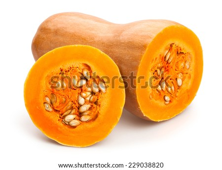 butternut squash isolated - stock photo