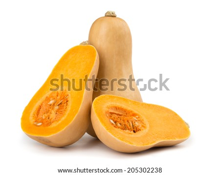 Butternut squash isolated on white background - stock photo