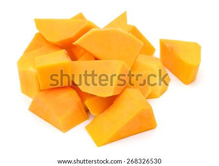 butternut squash sliced on white background  - stock photo