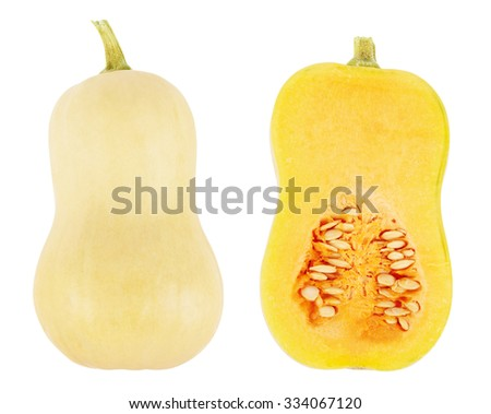 Butternut squash with cross section isolated on a white background - stock photo