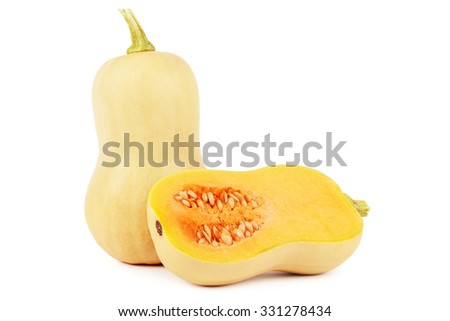 Butternut squash with cross section on white - stock photo
