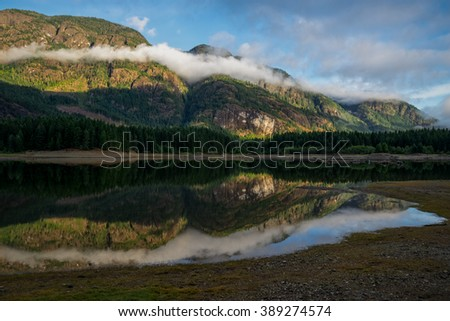 Buttle Lake, Strathcona Provincial Park, Campbell River, British Columbia, Vancouver Island, Canada, Natural and Peaceful - stock photo