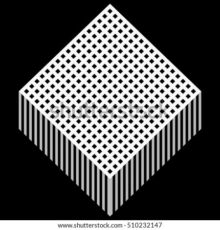 Button Abstract Grid Pattern line repeat with Isometric, 3d illustration and Rendering textured on black color background, isolated die cut