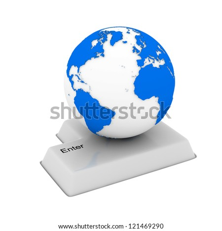 button and globe on white background. Isolated 3D image - stock photo