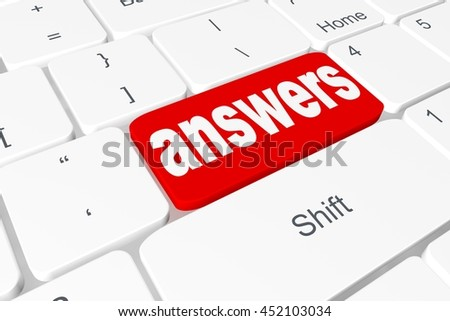 "Button ""answers"" on 3D keyboard - stock photo"