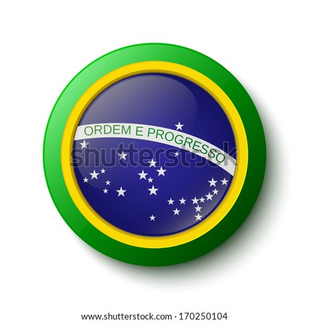 Button. Brazil flag - stock photo
