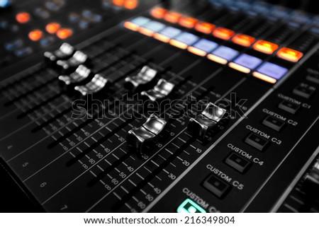 Button control sound mixer - stock photo