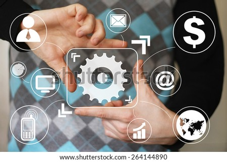 Button engineering business icon communication virtual - stock photo